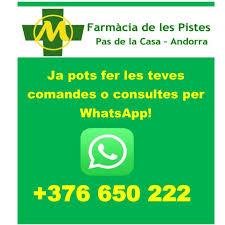 WhatsApp +376650222 PHARMACIE DE LES PISTES PAS de la CASE ANDORRE La pharmacie du Pas de la Case Consultations de pharmacie en ligne Andorre … Vous avez besoin d'aide? Si vous ne trouvez pas ce que vous cherchez, demandez-nous. Localisation et contact: Découvrez la Pharmacie del Pas au Pas de la Case (AD200 ENCAMP) Av. D'Encamp 9 Pas de la Casa Tel. +376856580 farmacia_pistes@yahoo.com