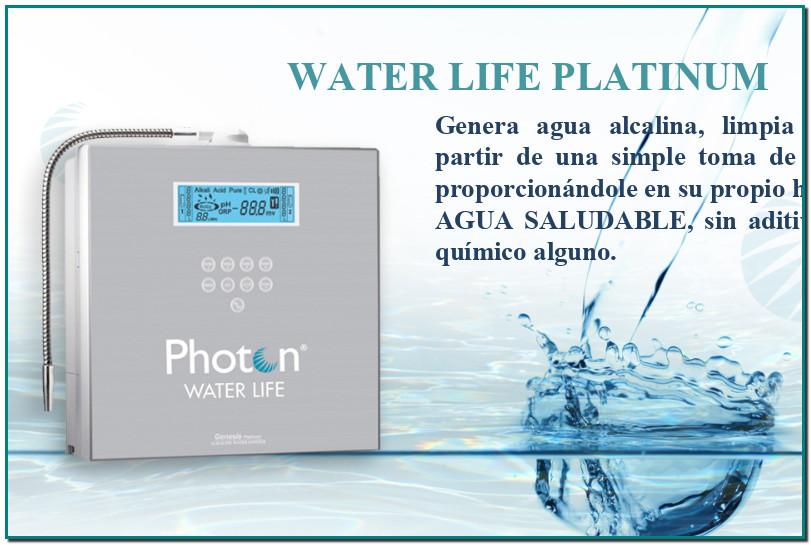 WATER LIFE PLATINUMGenera agua alcalina, limpia y benéfica a partir de una simple toma de agua potable, proporcionándole en su propio hogar. AGUA SALUDABLE, sin aditivos ni proceso químico alguno.